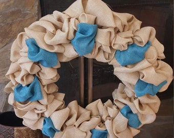 Plain Burlap wreath with any color you want added for you to decorate when you receive it.