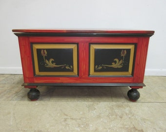 Antique Pennsylvania Dutch Paint Decorated Trunk Hope Chest Tool Box Reproduction