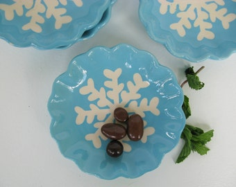 Christmas Snack Plates, Blue Snowflake Plates, Appetizer Plates, Winter Plates, Holiday Plates