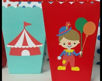 10 Carnival/Circus Themed Snack/Favor Boxes, Carnival Popcorn Box, County Fair Snack Favors