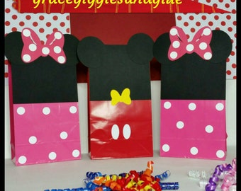 10 Mickey and Minnie Inspired Favor/Snack Bags, Minnie and Mickey Party Bags