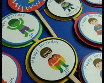 12 Superhero themed Cupcake  Toppers, Avengers Cupcake Toppers