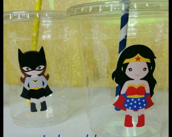 12 Girl Superhero Themed Party Cups with Striped Straws and Lids!, Girl Marvel Hero Plastic Party Cups