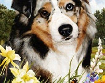 Australian Shepherd Blue Merle - Tamara Burnett Summer Flowers Flag: 28 x 40 inches