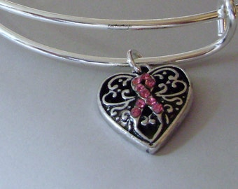 Awareness Pink Crystal Ribbon Antique Silver HEART Bangle  - Breast Cancer Bracelet / Personalize Bangle - / Gift For Her USA  C1