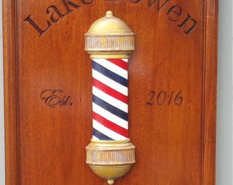 Wood Barber Shop Decor Barbershop Art Barber Gifts Barber Shop Sign BarberPole