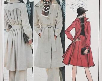Vintage 70s Vogue Paris Original Christian Dior Coat Pants Skirt Sewing Pattern 10 Uncut with Label