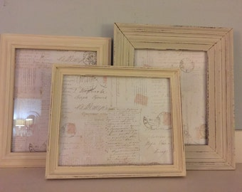 Old White Set of 3 Picture Frames, Distressed Cottage Chic, MADE TO ORDER