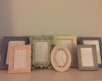 Pink, Slate Gray, Charcoal Gray, Old White, Beach Green, Shabby Cottage Chic, Rustic, Picture Frames, For Display On Furniture/ Wall Display