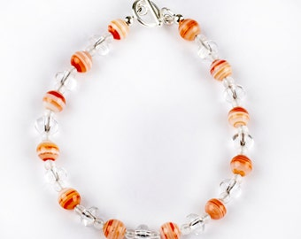Light Bracelet - Tango - bracelet of Rock Crystal and Banded Agate