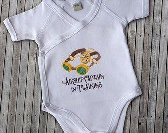 Onesies Airship Captain in Training embroidered steampunk baby