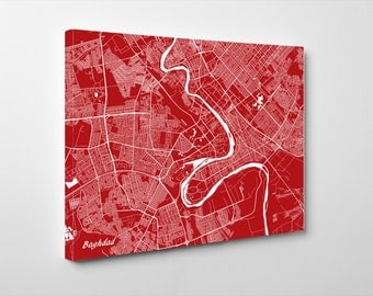 Baghdad Street Map Print Map of Baghdad City Street Map Iraq Poster Wall Art 7114L