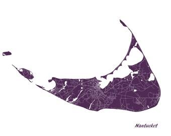 Nantucket Street Map Print Map of Nantucket Massachusetts Poster Art 7085L