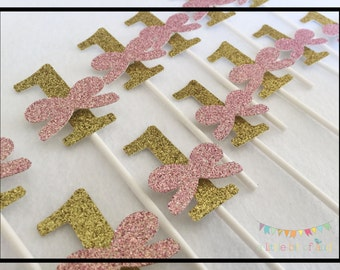 Pink and Gold Cupcake Toppers, Pink and Gold First Birthday Cupcake Toppers, Pink and Gold First Birthday, Cupcake Toppers, First Birthday
