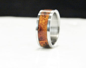 Canxan Negro Burl and Titanium ring, Burl inlay ring, Titanium and wood ring, Wedding ring, wood inlay ring,rare wood ring, metal and wood