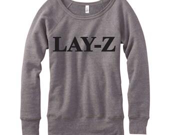Lay Z, Wideneck Fleece Sweatshirt, Metallic Gold, Silver, Glitter And Neon Print,