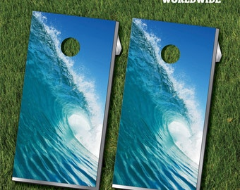 Beach Waves Cornhole Game Boards With Cornhole Bags