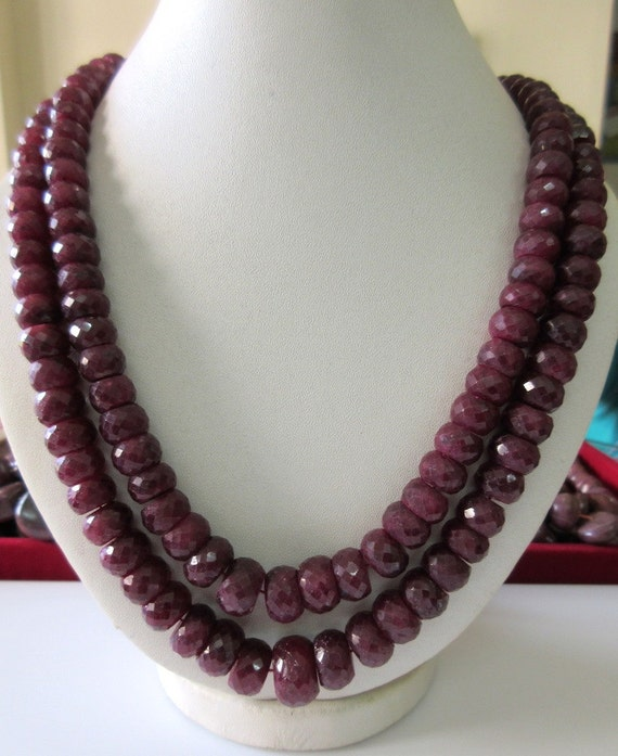 2 Strand Ruby Bead Necklace, Natural Ruby Faceted Rondelle ... - photo #2