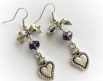 sacred heart - ex voto - rockabilly rockabella earrings burlesque pin up - old school - tattoo