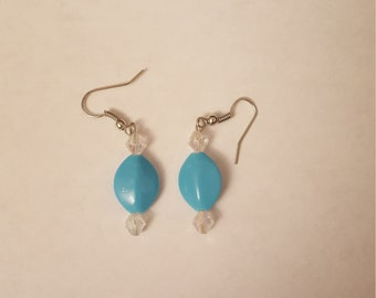 Green and White or blue and white Earrings