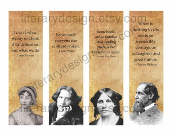 Famous Author Quotes Printable Bookmarks - Charles Dickens - Jane Austen - Louisa May Alcott - Oscar Wilde - Gift for Author - Reader Gift