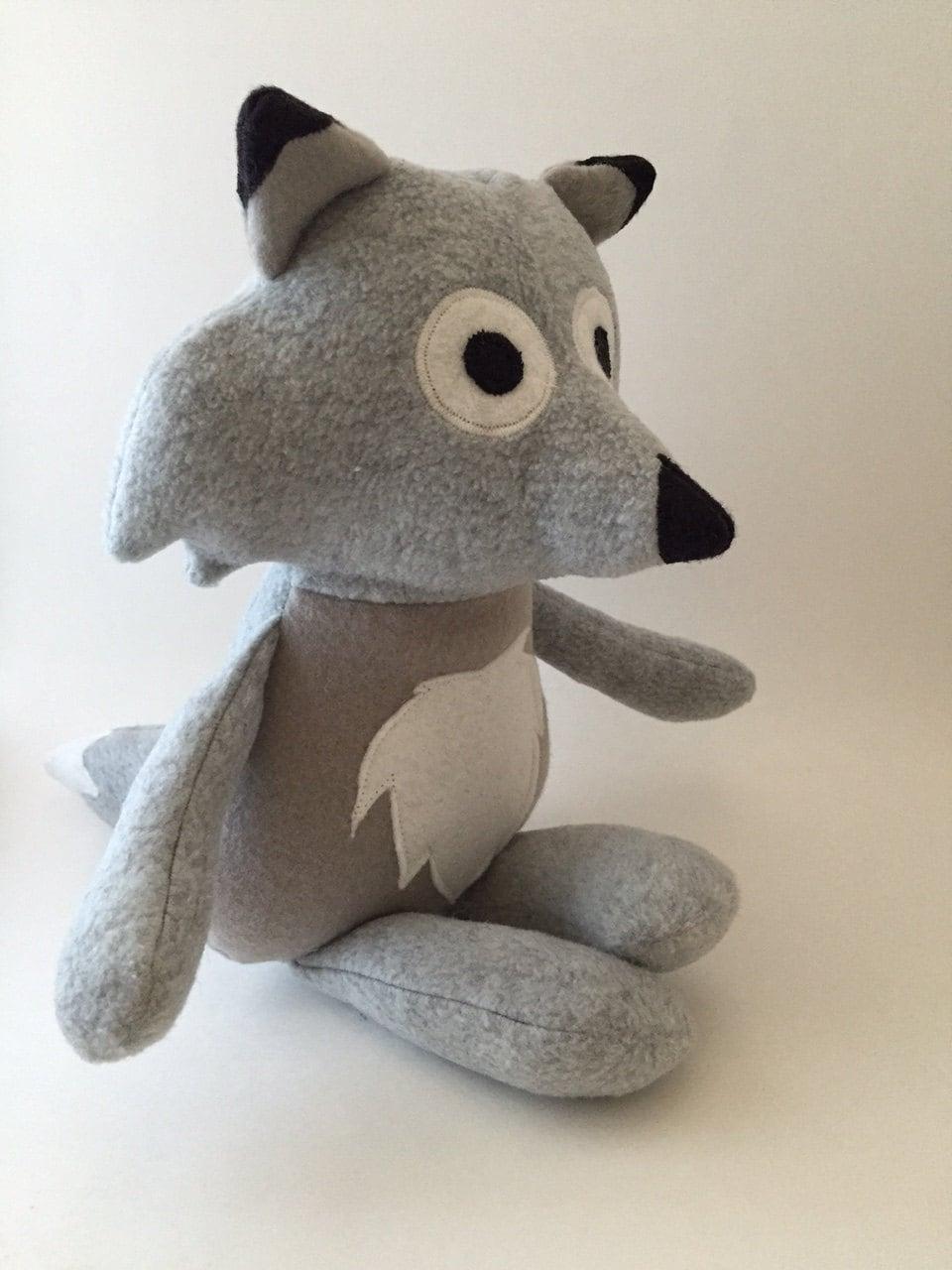 stuffed wolf plush doll wolf stuffed animal gray wolf. Black Bedroom Furniture Sets. Home Design Ideas