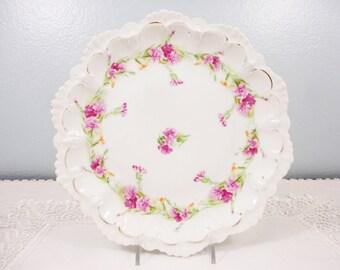 Antique MZ Moritz Zdekauer Austria Pink Floral Porcelain Plate