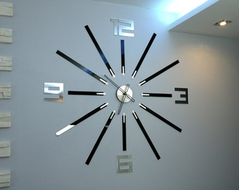 "Wall Clock, BIG CLOCK, large wall clock, gift, wall decor, Unique wall clocks, Mirror 115cm x 115cm/ 45,28""x45,28"""