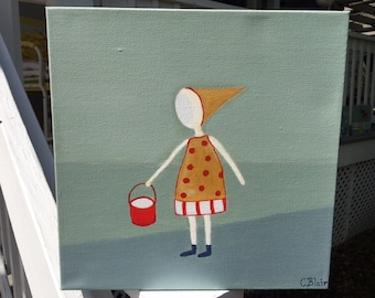 "Girl in Yellow, Red Bucket, Country Farm Scene, Modern Folk Art, Original Acrylic Painting, 12"" x 12"""