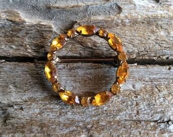 Vintage Round Rhinestone Brooch with Topaz Like Rhinestones November Birthstone Dark Yellow Orange Wreath Pin Autumn