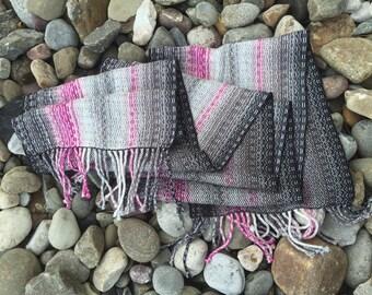 Handwoven Scarf Cotton Tencel Black Greys Pinks Neutral