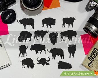 Buffalo Bison Animals America Forest Silhouette Native Clip Art Digital Design