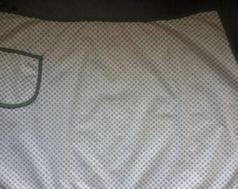 Vintage half apron, Retro apron, White and green apron,Apron with pocket