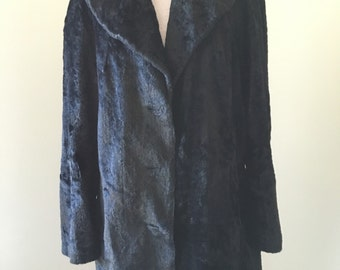 Black faux fur overcoat