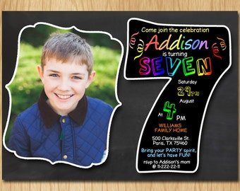 7th Birthday Invitation Chalkboard Invite Rainbow Colors Seventh Party Boy Girl With Custom Photo