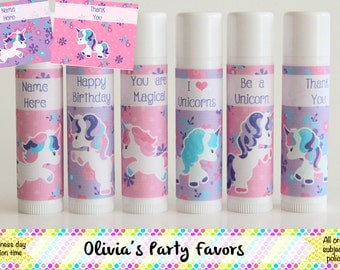 Unicorn Lip Balm - Unicorn Party Favor - Lip Balm - Set of 6 - Custom Lip Balm - Unicorn Birthday Party - Unicorn Floral Theme - Party Favor
