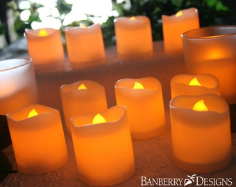 White Flameless Votive Candles - Set of 12 Flame Free Candles - 9806