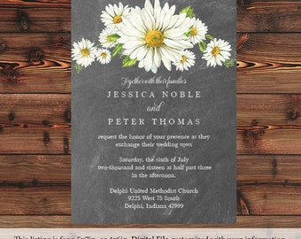 Chalkboard Floral Wedding Invitation Daisies