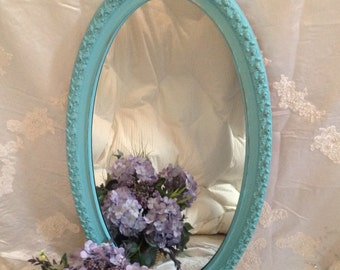 "Ornate Oval Mirror Turquoise Large Oval Shabby Chic Hanging Wall Mirror 35"" X 20""  Entryway / Bathroom"