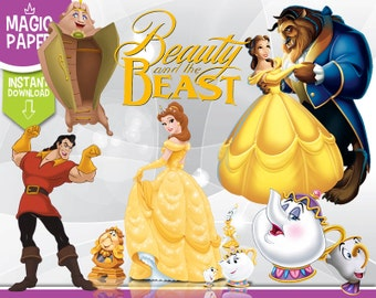 Beauty and the Beast Clipart - Digital 300 DPI PNG Images, Photos, Scrapbook, Digital, Cliparts - Instant Download