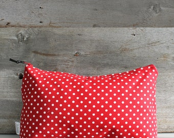 Nice case makeup, pencils or small objects: red with white polka dots