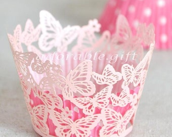 Cupcake Wrappers   Cupcake Liner Laser-cut   Decorations Wedding Party Baby Shower Birthday   Pink Pearly Butterfly Lace 12pcs