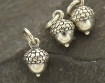 Silver Acorn Oak Tree Nature Autumn Fall 3D Dangle Charm Sterling Silver Jewellery Findings for necklace good luck charm