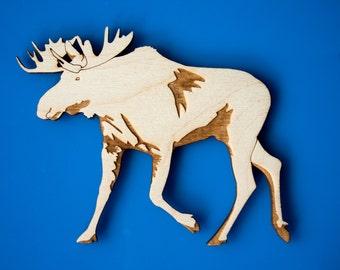 Moose Magnet - Wooden Laser Engraved Original Art - Cabin Decor - Rustic Kitchen Style - North American Animals - Canadian Wildlife - Alaska