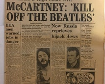 "Vintage 1970 Beatles Collectible / Paul McCartney ""Kill Off The Beatles"" Evening Standard Newspaper December 31 1970  Rock Music John Lennon"
