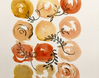 Orange floral print 8x10in