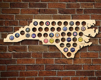 North Carolina Beer Cap Map - Beer Gifts for Men - Bottle Cap Holder Creates Cool Beer Art! - Gift for Panthers, Hurricanes and Hornets Fans