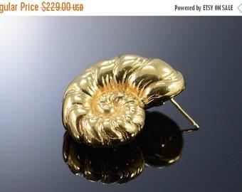 1 Day Sale 14K Hollow Sea Shell Ocean Stud Earrings Yellow Gold