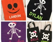 Trick or Treat Bag - Jack-o-lantern, Skeleton, or Skull and Crossbones - Fabric Tote - Personalized