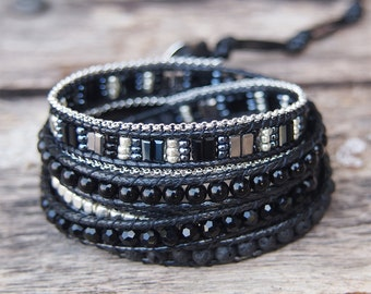 Black mix Wrap bracelet, 5 times wrap, Boho bracelet, Bohemian bracelet, Beadwork bracelet